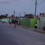 A view of living conditions on Ebeye. Many people live in each structure.