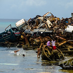 Children playing in the junkyard just off the island of Ebeye